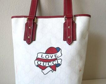 Gucci LOVE Tattoo Heart Shoulder Bucket Tote Bag Vintage