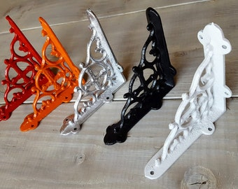 Set of 2 - 6 inch Shelf Brackets, Metal Shelf Bracket, Iron Shelf Brackets, Wood Shelf Brackets, Silver, Red, Black, White, Coral, Gold