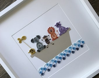 Personalized Baby Nursery Art & Decor, Personalized Framed Paper Quilled Noha's Ark