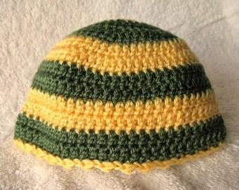 Baby Infant Beanie Hat Boy Girl Crochet Yellow Green Stripe Soft Warm Green Bay Packers Inspired Acrylic Machine Wash Dry Ready to Ship