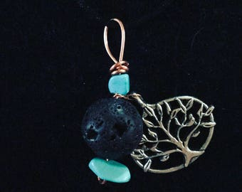 Wire Turquoise Lava Rock Necklace