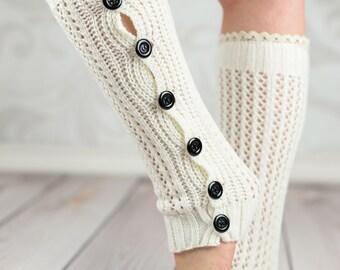 White Crochet Button Leg Warmers With Lace Rim