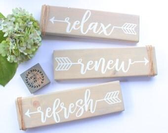 Beachy Bathroom Wall Decor - Relax sign - Relax Renew Refresh - Relax Refresh Renew - Bathroom Wall Decor - Farmhouse Bathroom