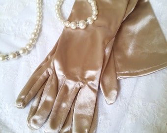 Taupe long gloves, beige long gloves, old gold satin gloves, ball gloves, cappuccino evening gloves