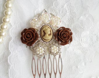 Chocolate brown wedding hair comb, Victorian hair comb, brown flower hair piece, chocolate wedding, Marie Antoinette, Bridesmaids hair comb