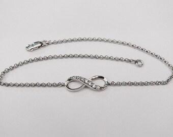 cz infinity bracelet, infinity jewelry, silver infinity, best friend bracelet, dainty bracelet, silver infinity bracelet, eternity bracelet