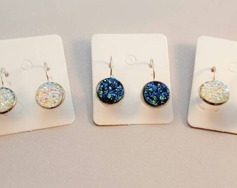 custom order silver plated lever arch,sparkly glitter, faux druzy,druzy earrings, druzy, druzy jewellery,womens gift for her,stone earring,