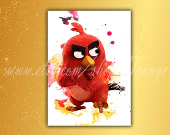 Angry Birds, Angry Birds print, Red bird, Watercolor Poster, Angry Birds RED painting, Angry Birds decorations, wall decor, kids room, T-043