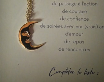 Locket and chain, color gold 'Moon'