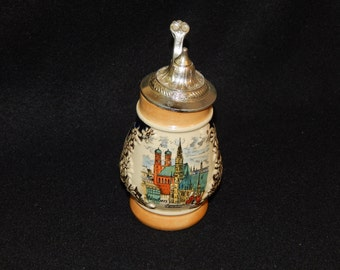 "German Bavarian 4"" Miniature Stein Pewter Lid Castle"