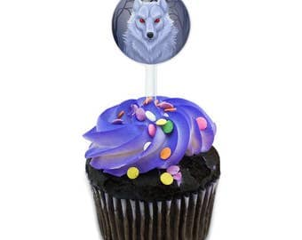 White Dire Wolf Cake Cupcake Toppers Picks Set