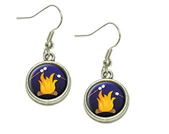 Campfire Camping Smores Roast Marshmallow Dangling Drop Charm Earrings