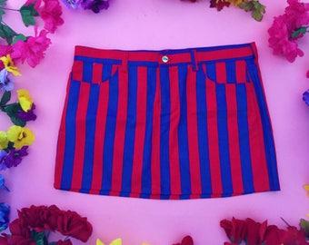 Red & blue striped skirt