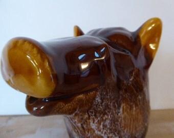Boar's Head Bistro Jug, French Vintage Wine Carafe, Novelty Wine Jug, Barware
