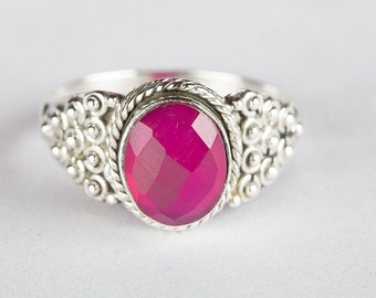 Facted Pink Chalcedony Gemstone 925 Sterling Silver Handmade Ring RS-517