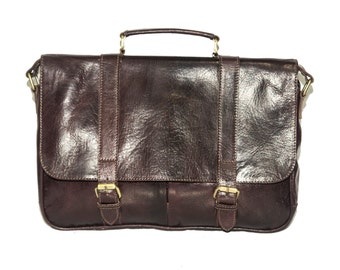 Gloss Leather Work Messenger Satchel | Coco Brown