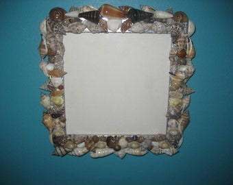 Square Picture Frame Covered with Lots of Shells