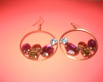 Large Colorful Rhinestones Hoop Earrings