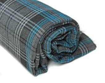 Black Plaid Suiting Fabric, Medium Weight Gray & Turquoise Plaid Fabric, Fabric by the Yard, Plaid Fabric, Destash Fabric