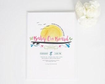 Surfer Baby Shower Invite in Pink