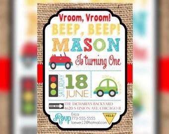 Cars Transportation Birthday Invitations, Trucks Birthday Invitations, Transportation Birthday Printable Invitations, Boy First Birthday