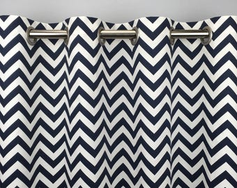 Navy Blue Chevron Curtains  - FREE SHIPPING - Blue Drapery Panels - Rod Pocket - Grommets - Lined/Unlined - Valance- 24 50 x 84 96 108 120