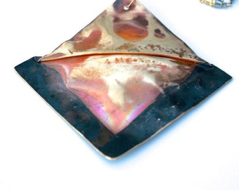 REDUCED - Tri-Color Folded Brass Sculptural Pendant