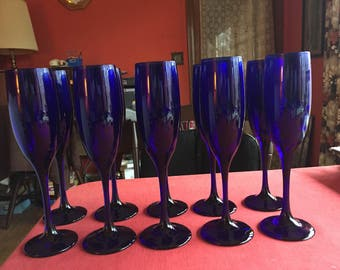 "11 Beautiful Cobalt Blue Flutes, New never used, 8 3/4"" tall, great for entertaining!"