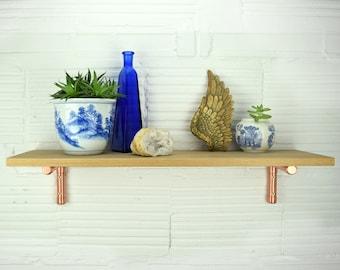 Oak Shelf With Copper Brackets