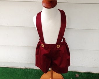 Boys burgundy shorts, boys suspender shorts, ring bearer shorts, available to order 12 mo, 18 mo, 2t, 3t, 4t, 5t ,6
