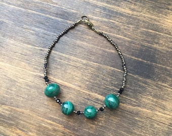 Malachite & Black Spinel Beaded Bracelet 7.5""