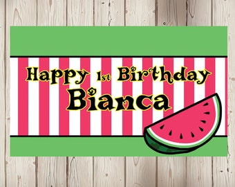 "18""x30"" Watermelon Theme Personalized Party Banner"