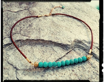 Turquoise & Leather Choker - Howlite Turquoise Beaded Bar//Distressed Brown Leather//Gold or Silver Accents - Boho Choker/Gift for Her