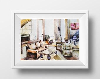 Wall Art Frasier TV Show Apartment Watercolor Print,Frasier Crane's Living Room,90s Sitcom,Printable Frasier,Frasier Poster,Frasier Fan Gift