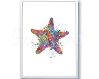 Star Fish Sea Animal Watercolor Art Print  - Watercolor Painting - Sea Life Watercolor Art Painting - Home Decor - House Warming Gift