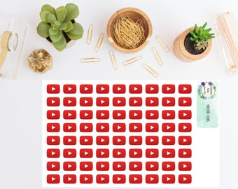 Youtube Social Media Icon Planner Stickers