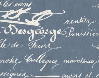 "72"" Shower Curtain, Penmanship Denim Blue French Script, Unined"