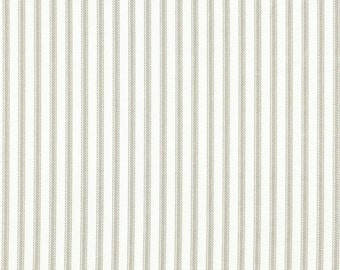 "15"" King Gathered Bedskirt, Pebble Taupe Ticking Stripe"