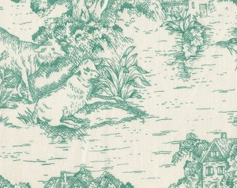 "15"" King Tailored Bedskirt, Pool Green Toile"