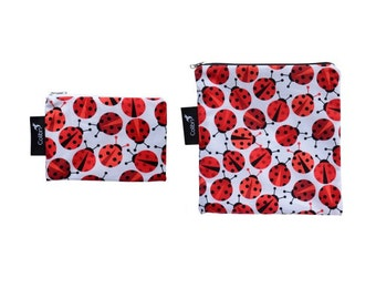 Ready to ship - Reusable Snack Bag Set - ladybugs with zipper