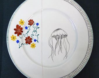 Hand painted porcelain collection plate  - assembly - 01