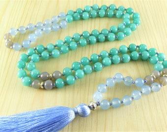 Boho neckalce Long tassel necklace 108 Beaded necklace 108 quartz mala Blue necklace 108 yoga necklace 108 mala beads double wrap necklace