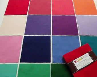 42 Kona Cotton Fabric Squares - 5 inches