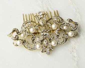 Martha Bridal Hair Comb - Silver Bridal Hair Comb - Gold Bridal Hair Comb - Wedding Hair Comb - Pearl Hair Comb - Bridal Hair Comb