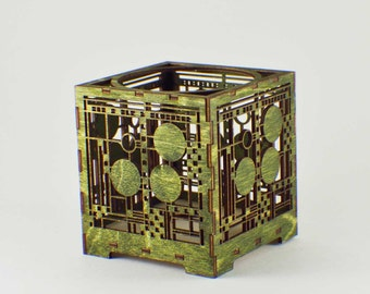 Laser Cut Wood Votive Candle Holder - Modern
