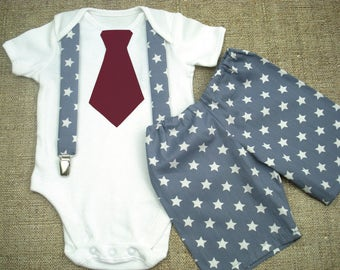 First birthday boys set One piece birthday boy Baby suspenders clip Chevron 1st birthday boys Outfit boys Overalls tie Baby Gray Shorts boys