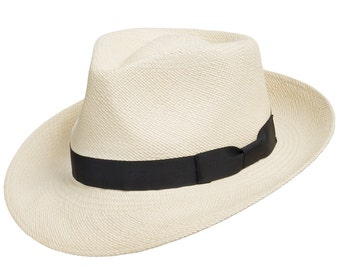 ULTRAFINO Genuine HAVANA Retro Panama Straw Hat Classic Lightweight