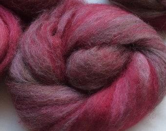 "Hand-carded Mini Batts  3.5oz  Llama Romney  ""Raspberry Beret"" Spinning Felting Art Yarn"