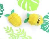 Lemon Mini Piñata for Lemonade Birthday Decorations, Cinco de Mayo Fiesta-Set of Six