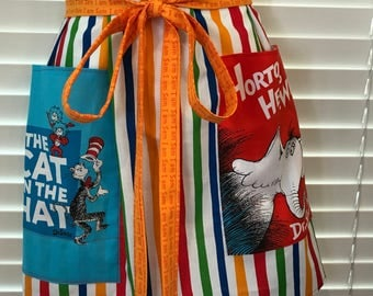 Dr. Seuss Apron Adult Half Apron with pockets / cat in the hat / horton hears a who apron